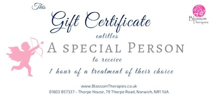 Blossom Therapies Vouchers. Wonderful Massage Present for a loved one.