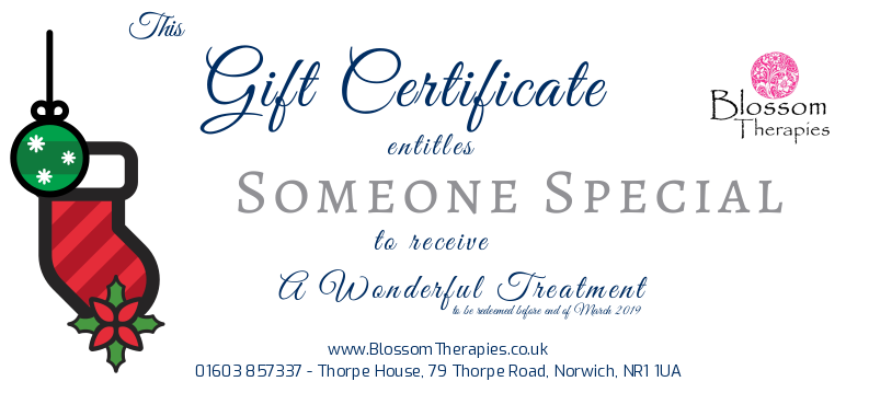 Blossom Therapies Vouchers: wonderful treatments for a loved one.